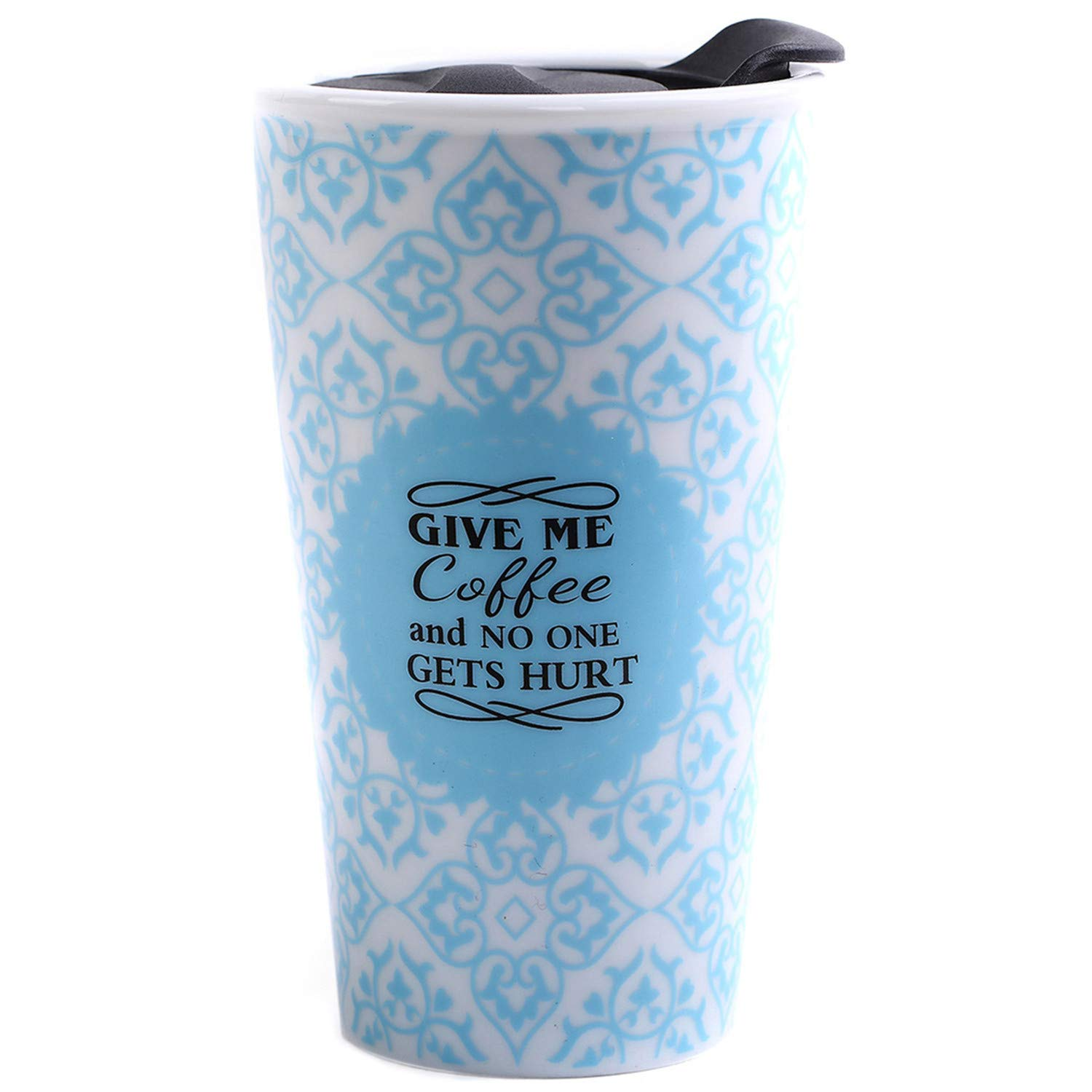 CEDAR HOME Travel Coffee Ceramic Mug Tea Cup Double Wall Porcelain With Lid 11oz., Blue