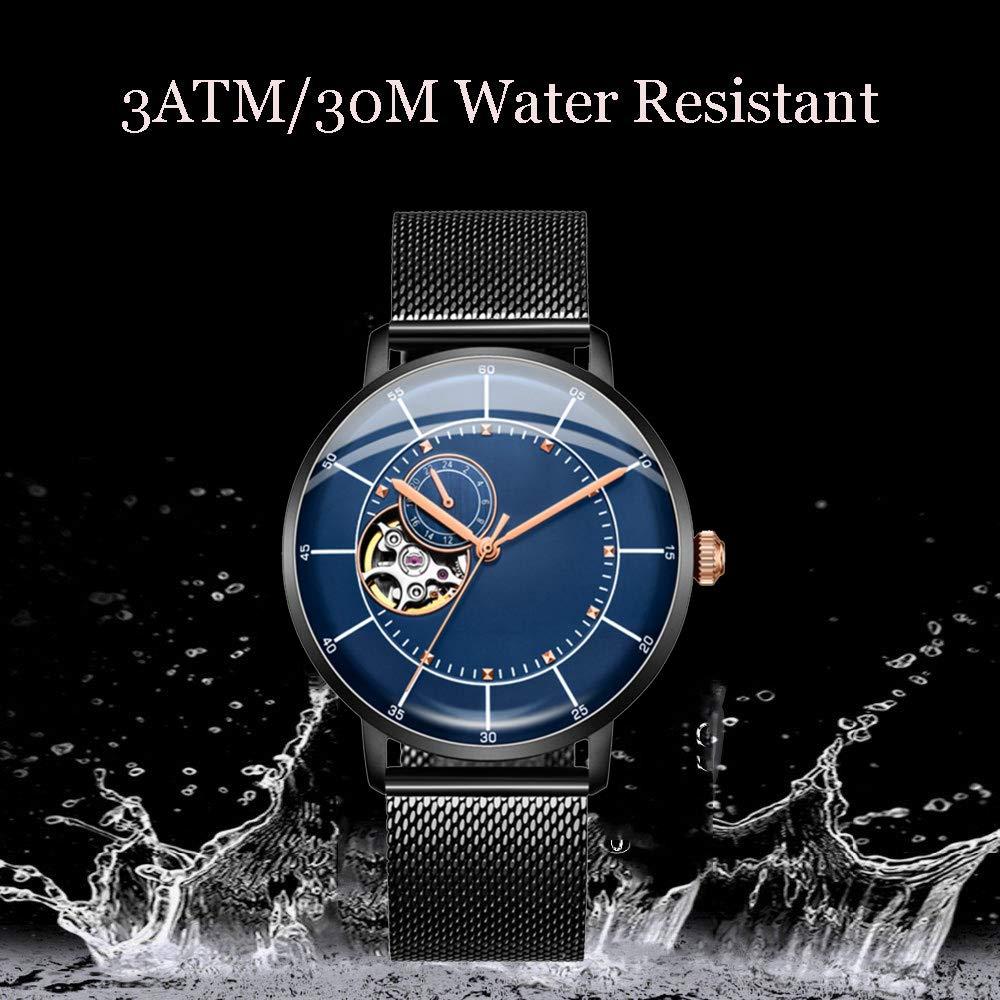 N·XHXL Mäns skelett mekaniska klockor, automatisk självuppdragande affärer casual armbandsur man glasspegel vattentäta klockor BLÅ