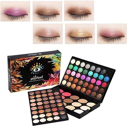 Kit de maquillaje de paleta de sombra de ojos, paleta de colores de maquillaje en polvo con brillo de 95 colores, 80 sombras de ojos + 15 corrector de rubor: Amazon.es: Belleza
