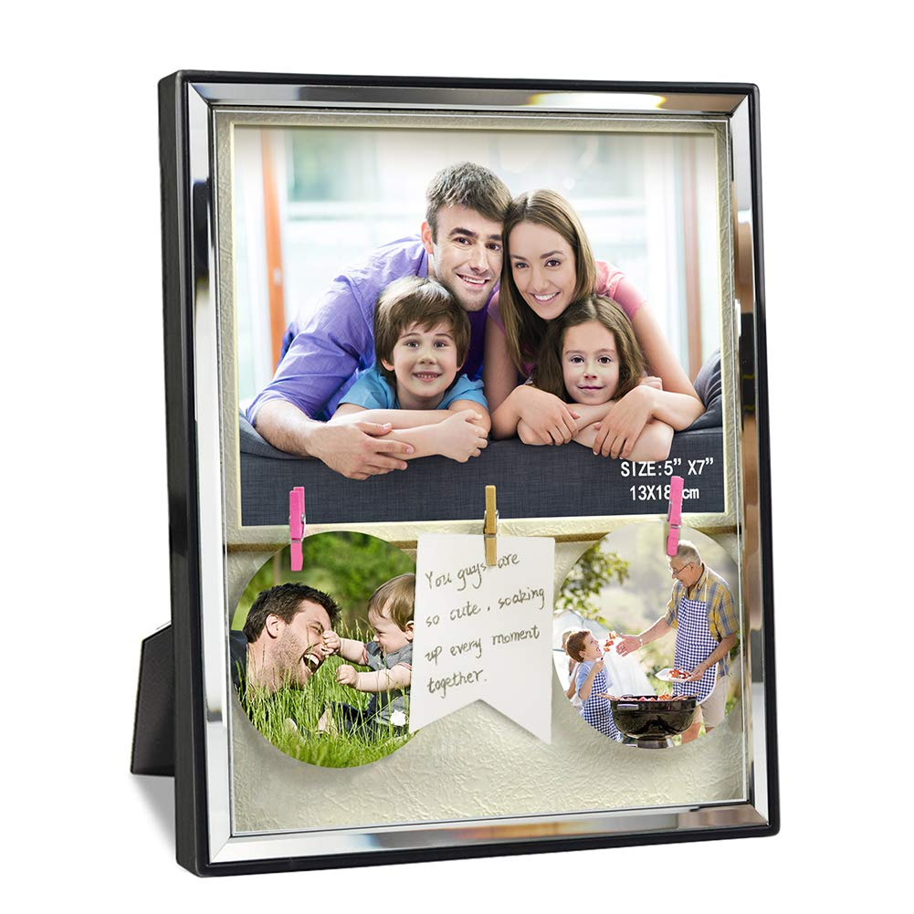 Black Glass Front Wall Hanging and Tabletop Artsay 4x6 Family Picture Frame with Mat Clips Shadow Box Photo Frames Holder