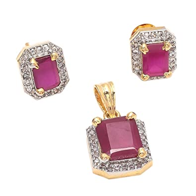 Buy geode delight gold plated ruby colored stone american diamond geode delight gold plated ruby colored stone american diamond pendant set for women aloadofball Images