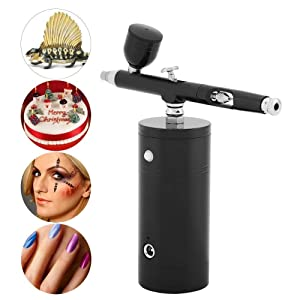 Maxmartt Airbrush Kit, Mini-Compact Air Compressor, Portable Airbrush Compressors, 0.3mm Dual-Action Airbrush, 7CC Capacity Set for Makeup Tattoo Nail Art Face Paint Cake Deraction Coloring Model