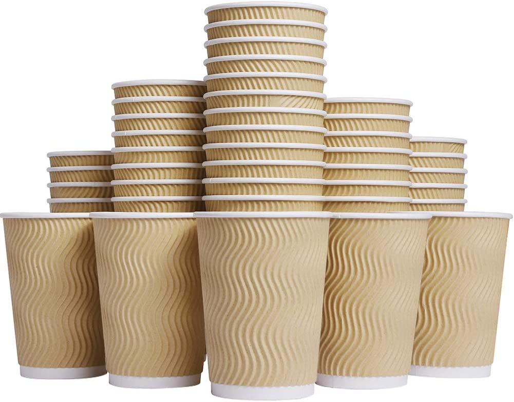 100,4oz Brown Luckypack Hot 4 oz Disposable Insulated Corrugated Sleeve Ripple Wall Paper Coffee Cups for Drink