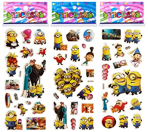6 Sheets Puffy Dimensional Scrapbooking Party Favor Stickers + 18 FREE Scratch and Sniff Stickers - DESPICABLE ME (Scrapbooking Stickers Invitation)