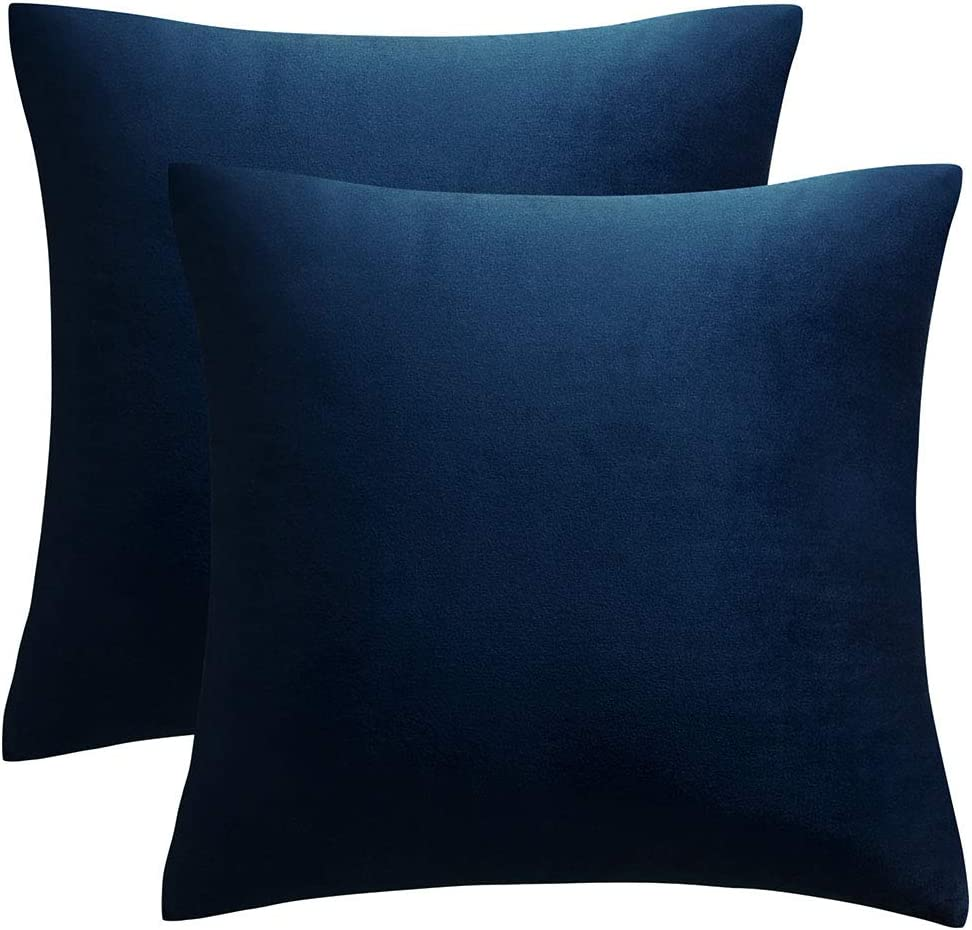 JUSPURBET Decorative Pillow Covers,Pack of 2 Velvet Throw Pillows Cases for Couch Bed Sofa,Soild Color Soft Pillowcases,18x18 Inches,Navy Blue