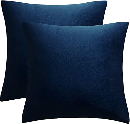 JUSPURBET Decorative Pillow Covers,Pack of 7 Velvet Throw Pillows Cases for  Couch Bed Sofa,Soild Color Soft Pillowcases,7x7 Inches,Navy Blue