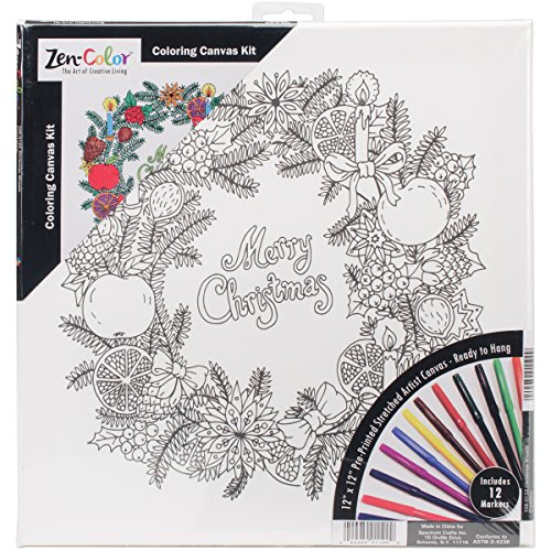Janlynn 108-0122 Adult Holiday Coloring Canvas with 12 Markers