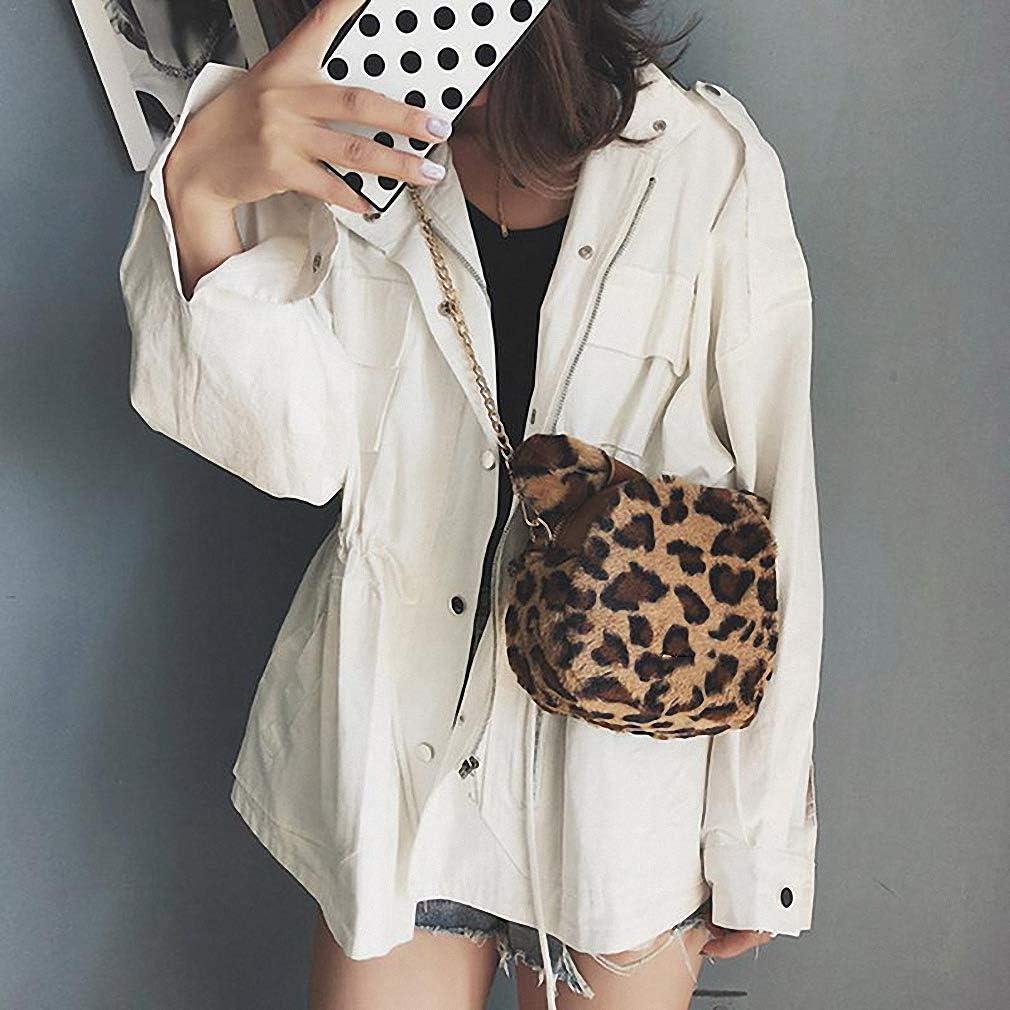 Nyusdar Leopard Print Shoulder Chain Bag Messenger Small Round Bags Tote Faux Fur Bag Women Clutch Handbags Party Crossbody