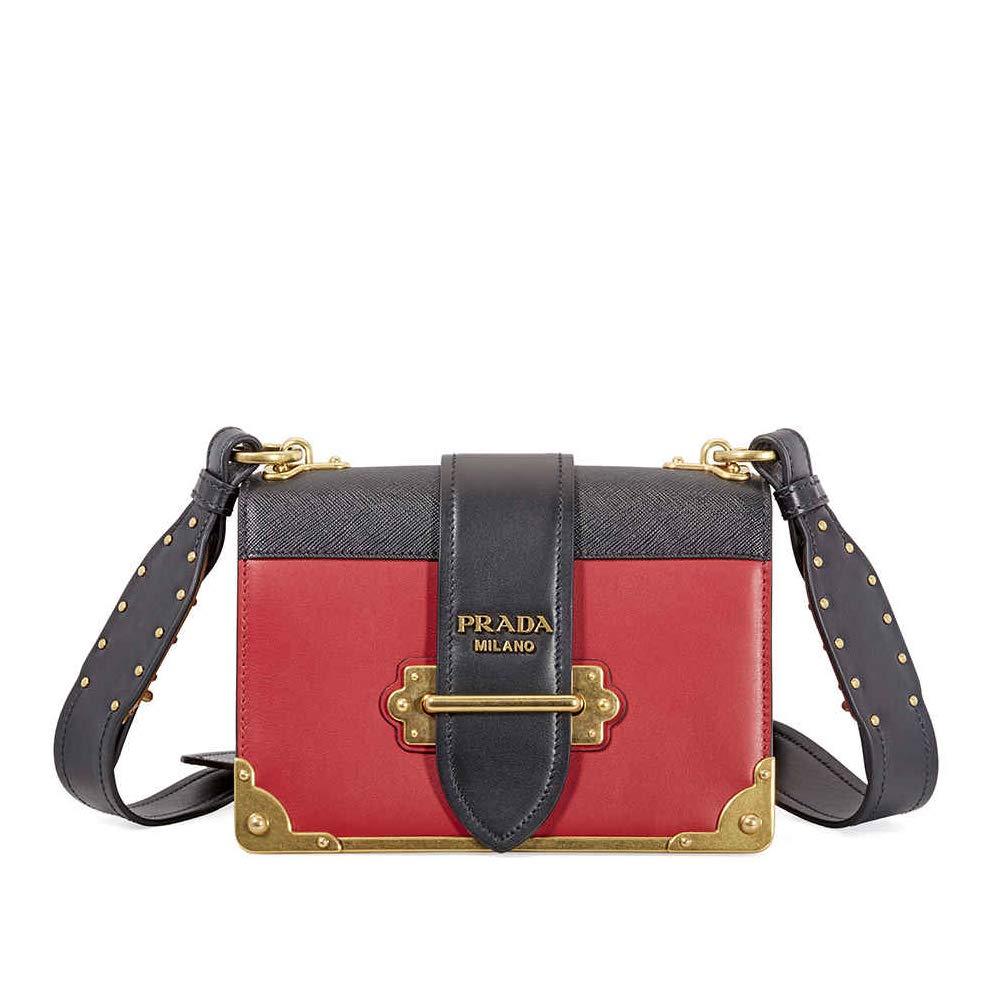 44ba8956 Amazon.com: Prada Women's Women's Cahier Bag Red + Black Red + Black ...