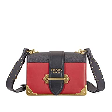 5408dd8f3f8e Amazon.com  Prada Women s Women s Cahier Bag Red + Black Red + Black ...