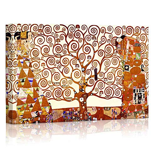 Heronear Tree of Life by Gustav Klimt - Canvas Art Wall Decor Famous Painting Reproduction Print- Framed Ready to Hang (24