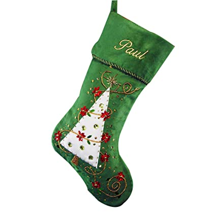27147826e65 Image Unavailable. Image not available for. Color  GiftsForYouNow Embroidered  Green Christmas Tree Stocking ...