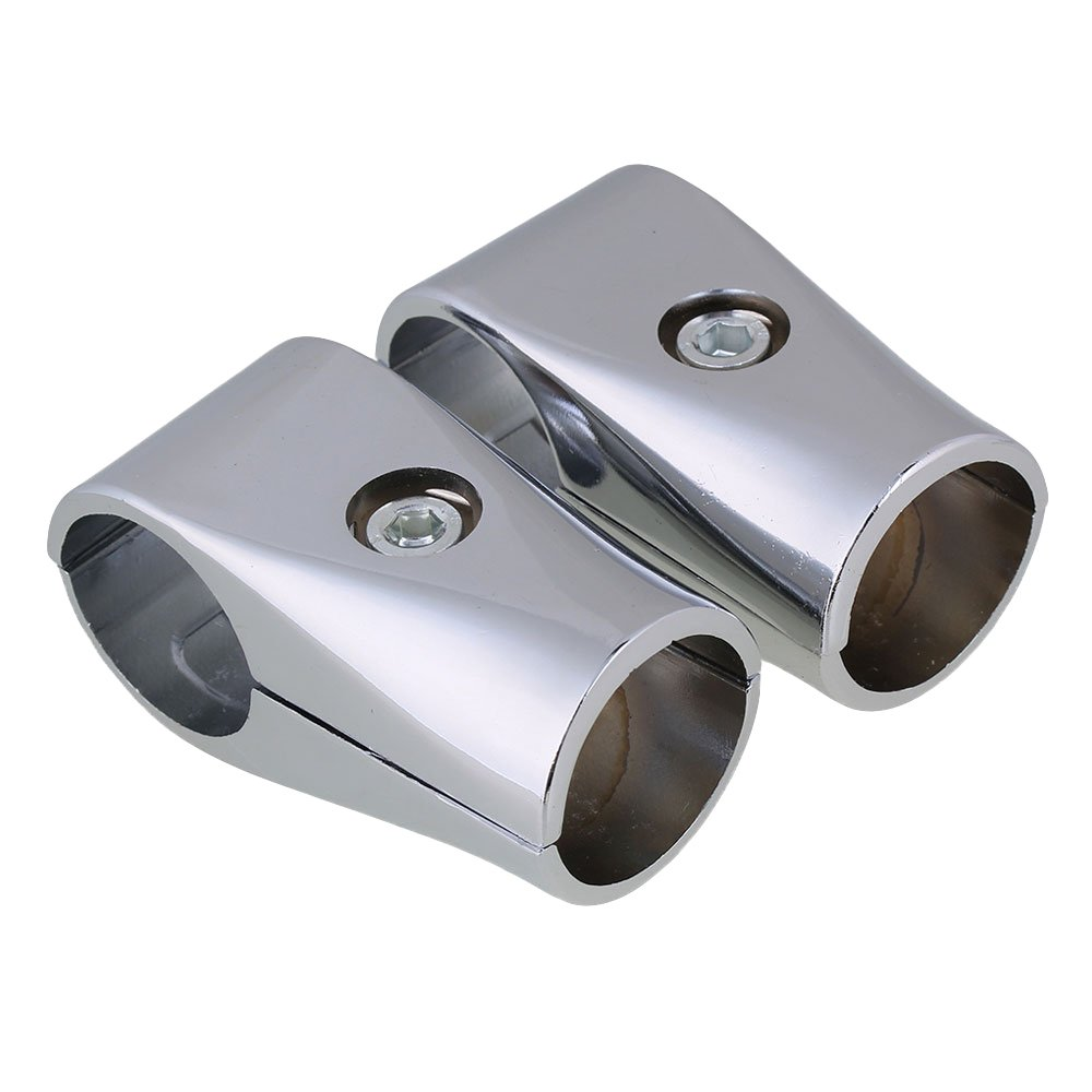 BQLZR 32mm ID Silver Aluminum Two-way Shelf Display Rack Scaffold Tube Connector Pipe Fittings Pack of 2