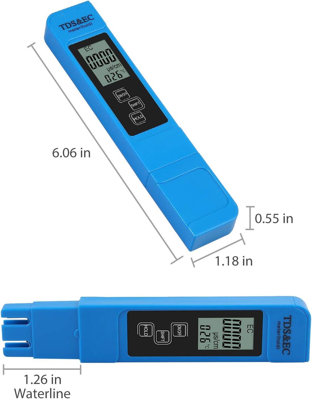 Digitaler Wasserqualit/ätspr/üfer TDS EC Messger/ät mit Batteriebereich bei 0-9990 Multifunktionale Wasserreinheit Temperaturmessger/ät mit Ledertasche Temp Ppm Test f/ür Trinkwasser Qualit/ät