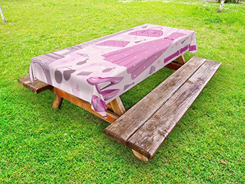 Ambesonne Heels and Dresses Outdoor Tablecloth, Paris Fashion Atelier French Boutique Feminine Glamor Eiffel, Decorative Washable Picnic Table Cloth, 58 X 104 Inches, Baby Pink Mauve Magenta