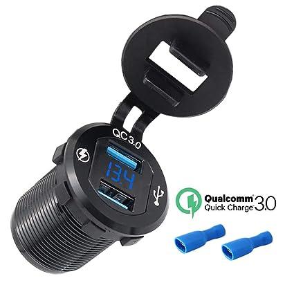 Etrogo 12V Voltímetro LED Digital Impermeable para Motocicletas, con Doble Puertos Cargador Rápido Cargador USB 5V 3A para 12V / 24V Motocicletas, ...