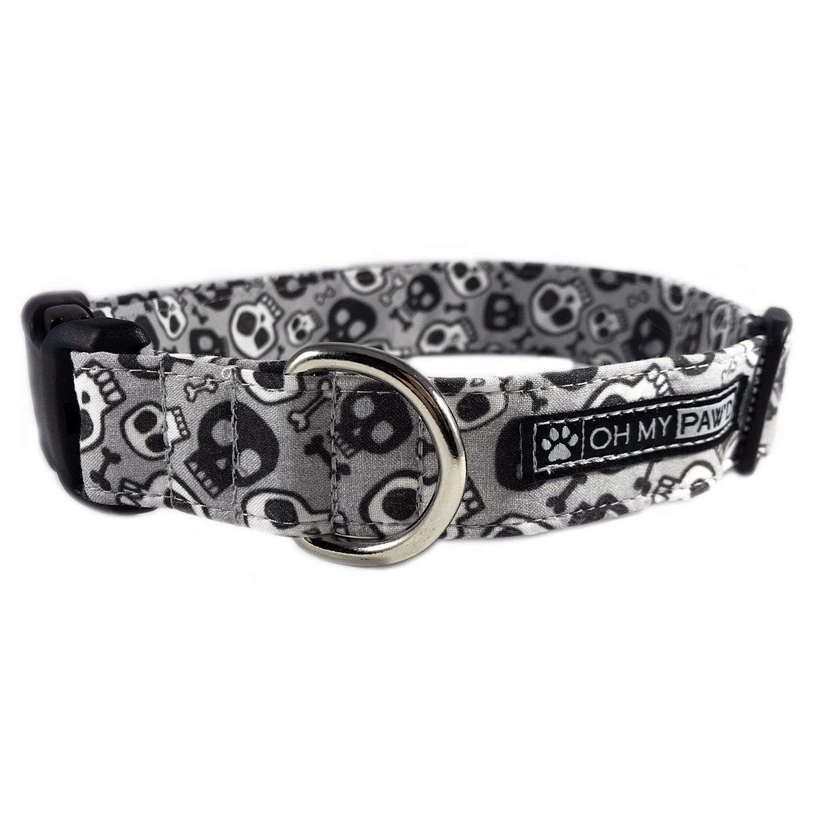 Skull and Bones Dog or Cat Collar for Pets Size Small 3/4 Wide and 11-16 Long by Oh My Paw'd