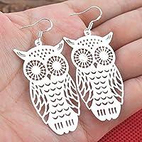 Siam panva Women Fashion Jewelry 925 Silver Hollow Owl Drop Dangle Hook Earrings Chic Gift