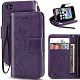 iPhone 4 Case,Korecase Premiun Wallet Leather Credit Card Holder Butterfly Flower Pattern Flip Folio Stand Case for Apple iPhone 4 4S With a Wrist Strap - Purple