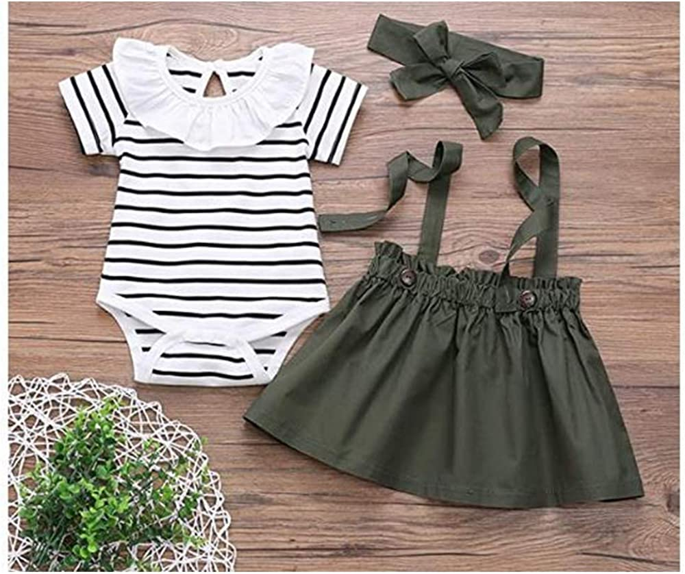 T TALENTBABY Infant Baby Toddlers Girls Strap Dress 2Pcs Sets Long//Short Sleeve Ruffle Top Overalls Plaid Skirt Clothes Set