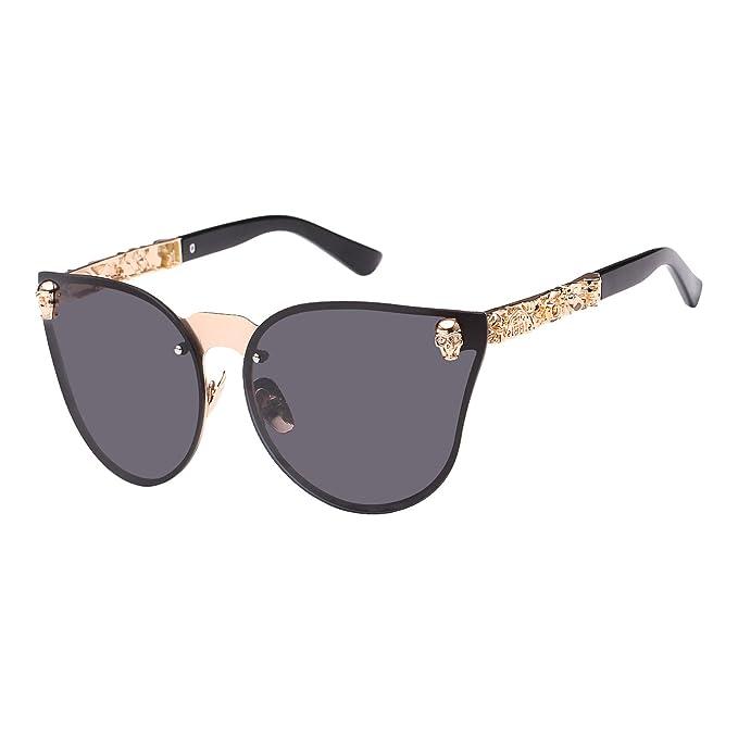 4c88aec2bc anteojos de sol para mujer con diseño de calavera de GIRL de Royal GIRL,  Gold