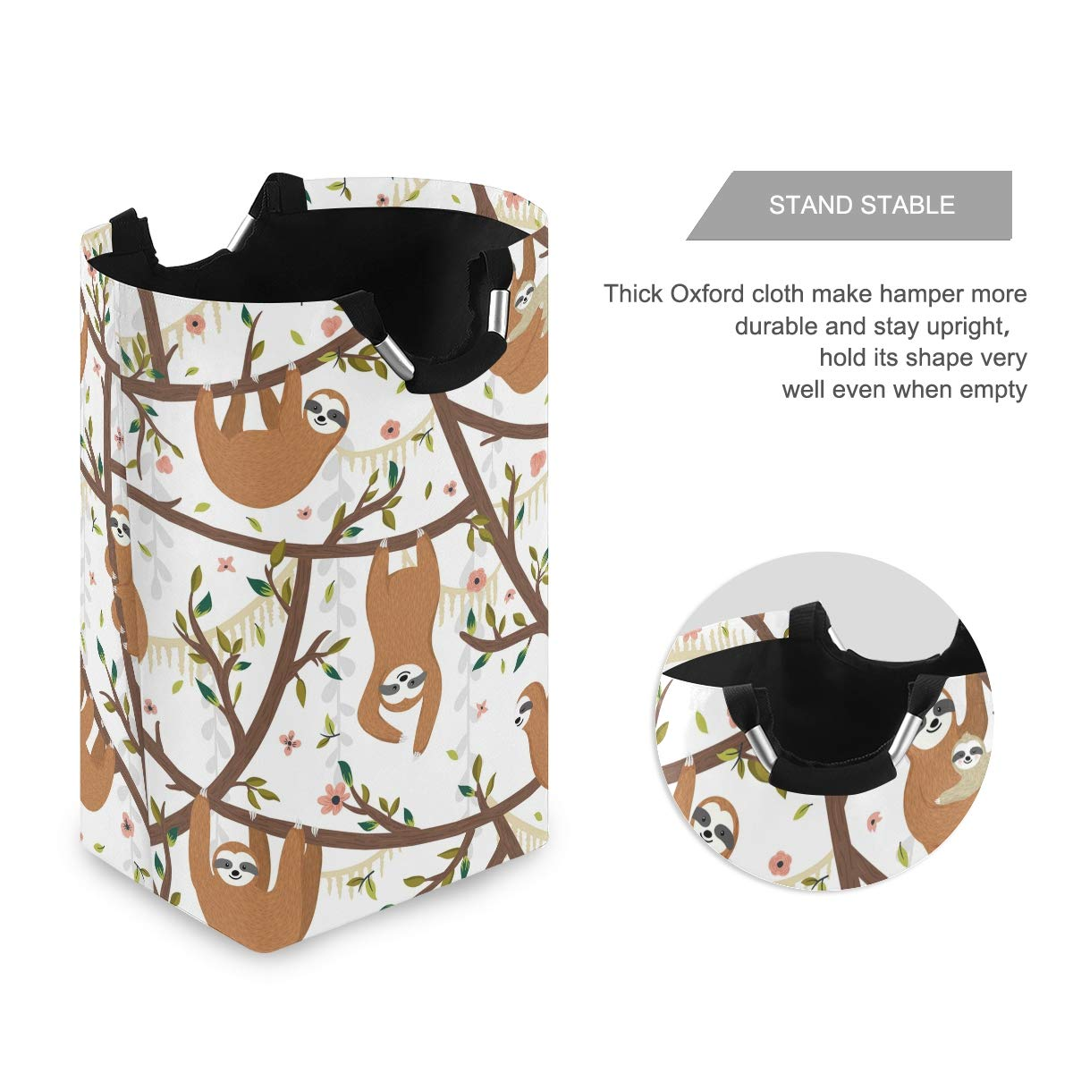 Unimagic Collapsible Laundry Basket Cartoon Animal Funny Sloth Laundry Hamper Large Cloth Hamper Laundry Organizer Holder with Handle