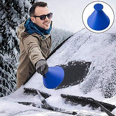Blue Starall 2 In 1 Tool Oil Funnel Round Ice Scraper Windshield Scraper Snow Cleaning Brush