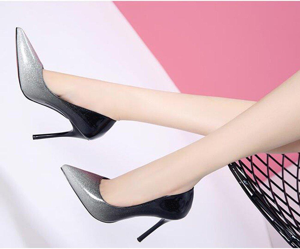MDRW-Lady/Elegant/Arbeit/Freizeit/Feder Modische bemalte Leder Tipp Die Nähte Schuhe Nachtclubs Tide's Schuhe Damen Schuhe Nähte Sexy Feine gefolgt 10 cm High-Heel Schuhe Silver aaa0c9