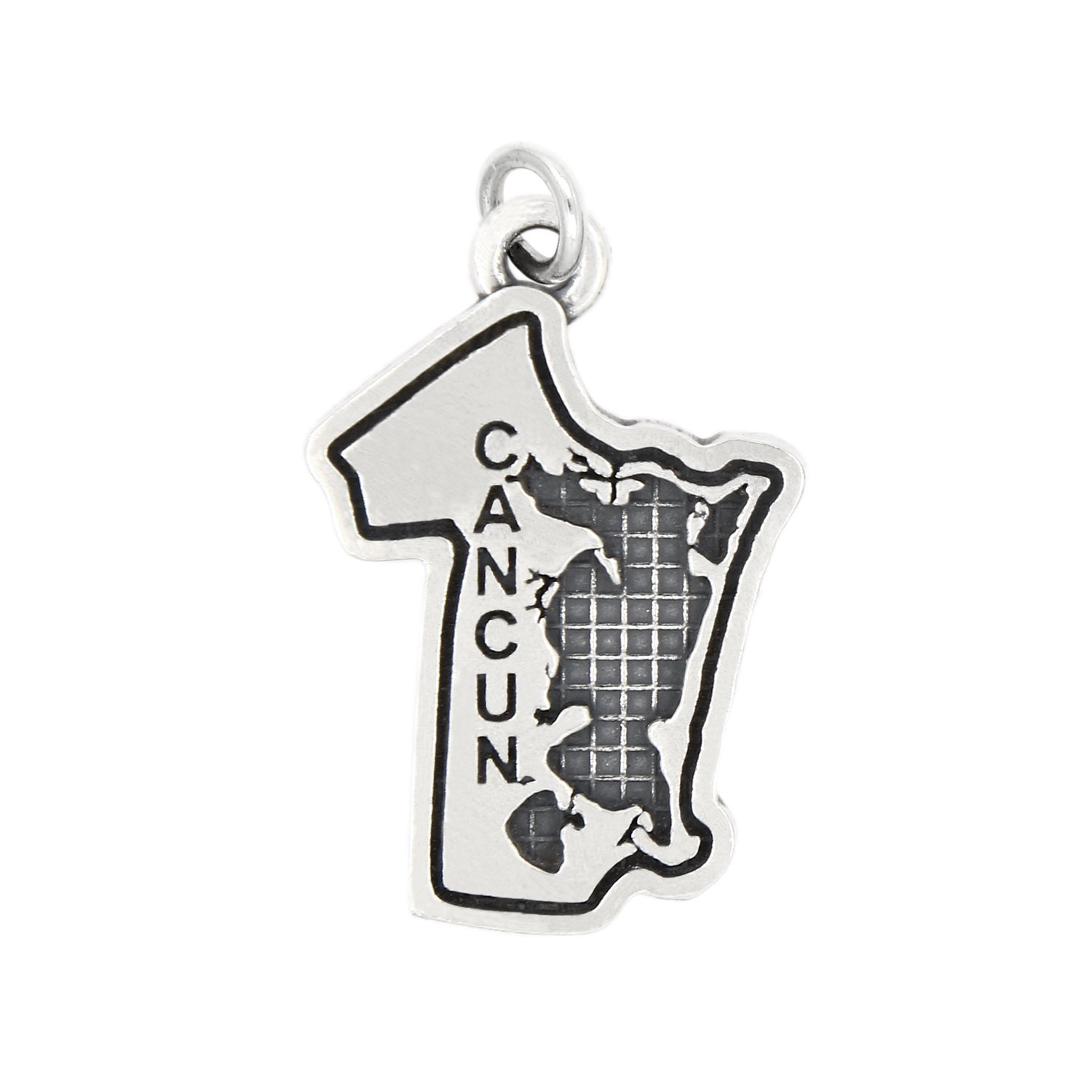 Sterling Silver Oxidized Travel Mexico Cancun Charm (with Options) (CHARM)