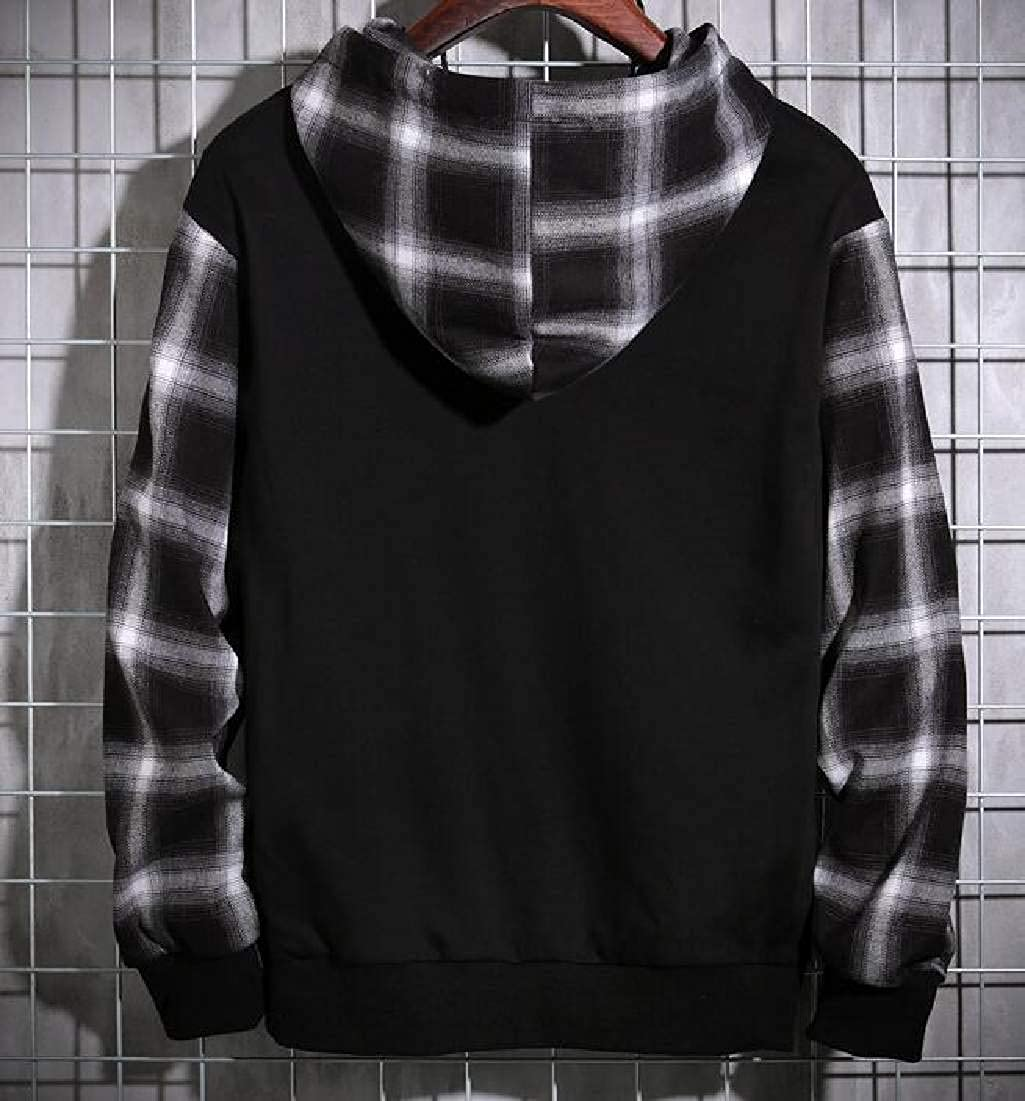 Abeaicoc Men Plaid Pullover Stitching Long Sleeve Drawstring Hooded Sweatshirt with Pockets
