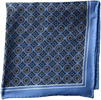 BUTTONED DOWN Men's Classic Silk Hand Rolled Pocket Square, light blue medallion, One Size