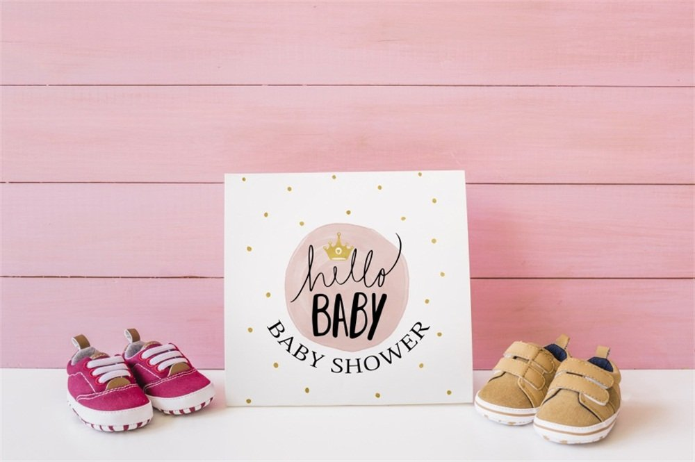 LFEEY 7x5ft Sweet Baby Shower Photography Backdrop for Boy Girl Pink Hello Baby Gender Reveal Wood Floor Baby Shoes Background Mother-to-be Party Photo Booth Props