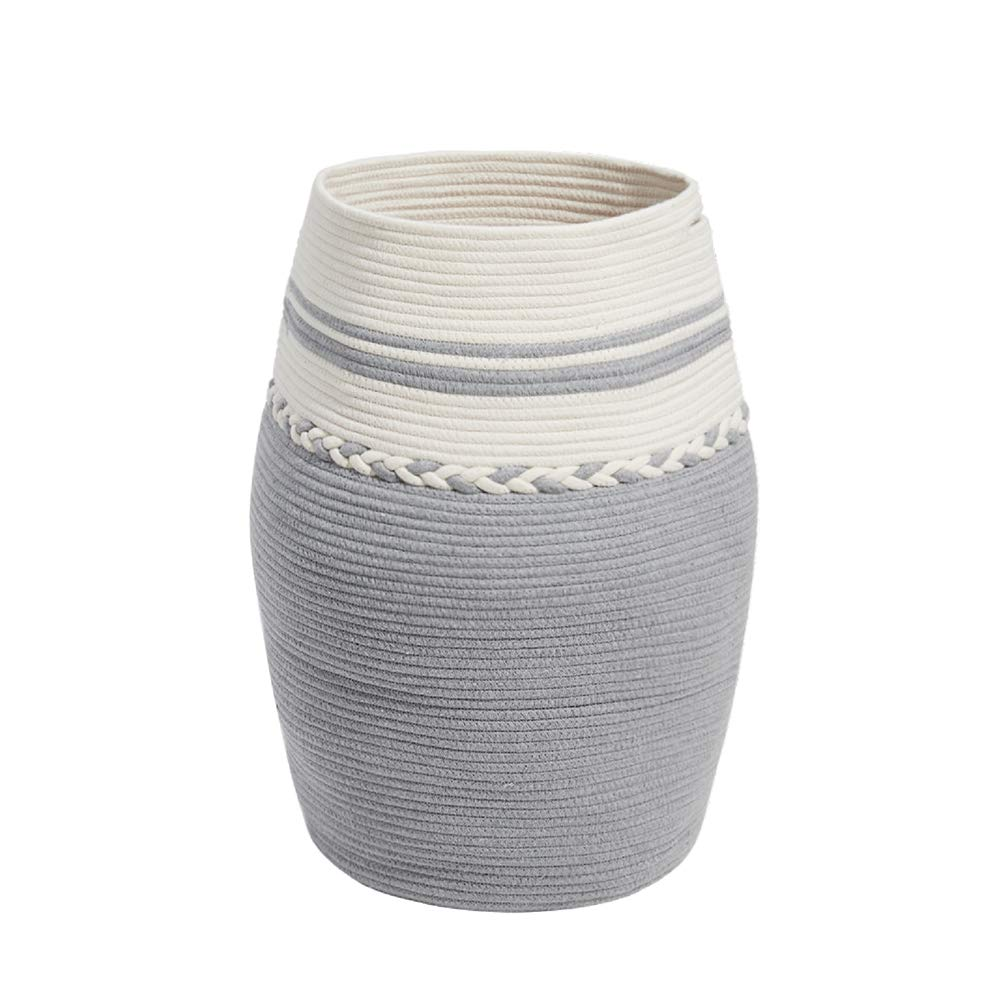 HanShoo Tall Cotton Rope Laundry Basket - Woven Cotton Rope Basket - Dirty Clothes Storage Hamper - Tall Curver Laundry Basket Kids Toys Blanket Storage Baskets (XXXL Gray&White) by HanShoo