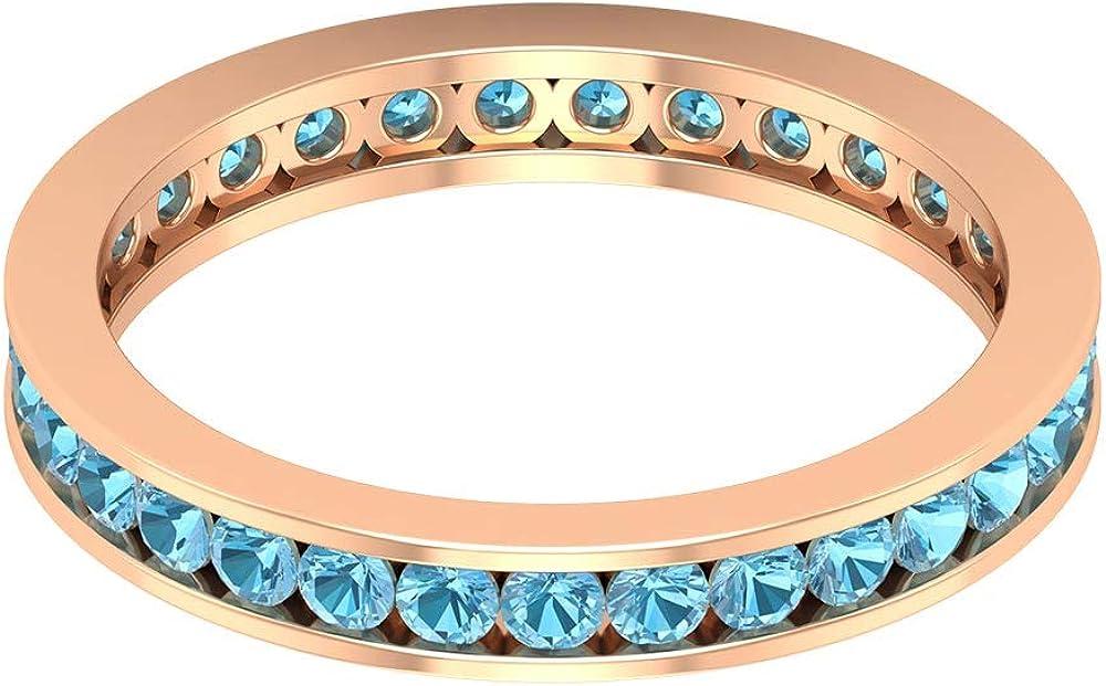 Anillo de declaración de aguamarina certificado de 1,24 ct, único anillo de boda de piedra preciosa, anillo de boda clásico de novia, 18K Oro