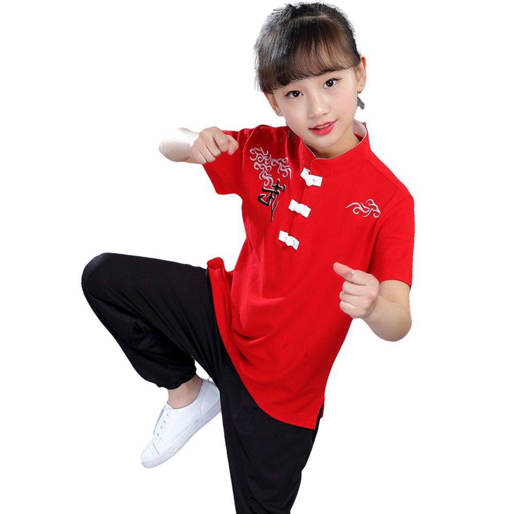 Fuyingda Niños Unisex Tang Traje de Artes Marciales Kung Fu Uniformes Ropa De Tai Chi Disfraces Pantalones Camisa