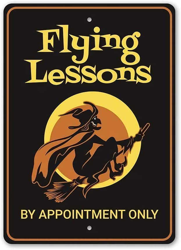 "INNAPER Metal Sign Indoor Outdoor Wall Decor Halloween Sign Flying Lessons by Appointment Only Halloween Decoration Witch and Broomsticks Flying Lessons 8"" X 12"""