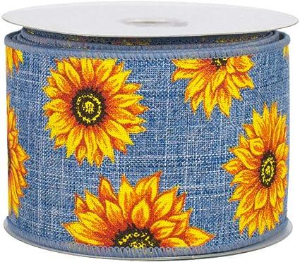 "10 Yards Sunflower Sunflowers Flower Pink Sheer Wired Ribbon 2 1//2/""W"