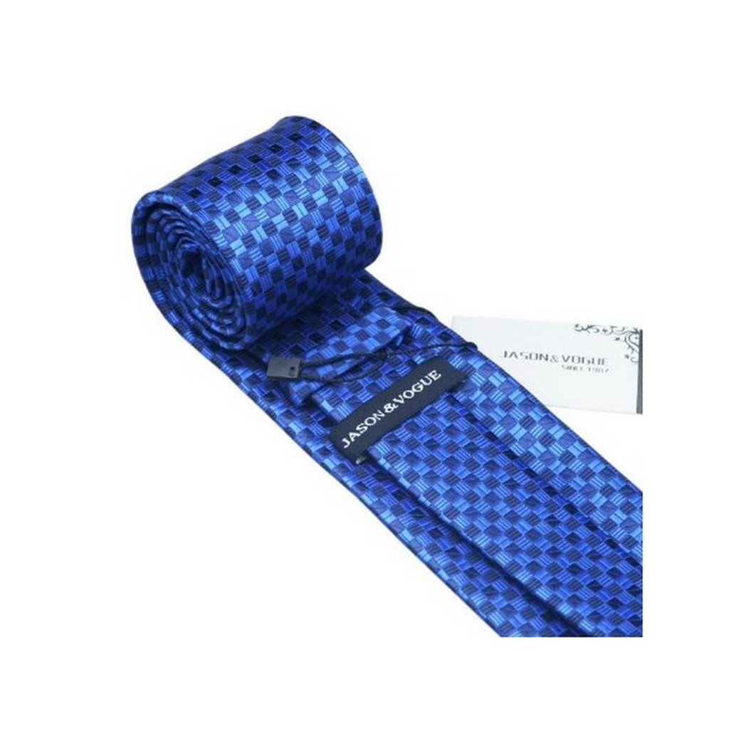 Bright Blue and Deep blue Plaid Tie White Plaid Tie and Cufflinks Set For Men