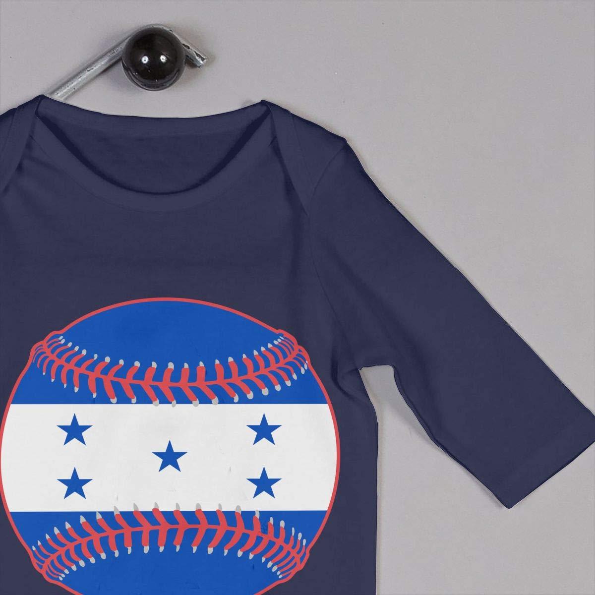 Mri-le1 Baby Girls Long Sleeved Coveralls Honduras Flag Baseball Clipart Toddler Jumpsuit
