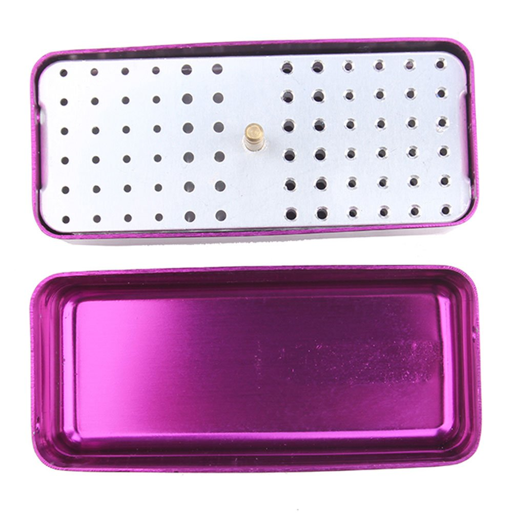 72 Holes Autoclavable High Speed Dental Burs Holder Dental Bur Block Purple(3 pcs)