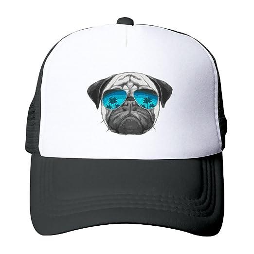 14ee82c35eccc Unisex Baseball Cap Pug Wearing Sunglasses Classic Mesh Outdoor Hat at  Amazon Men s Clothing store