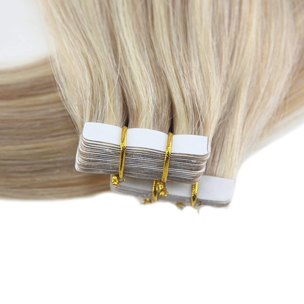 Moresoo 16inch Seamless Real Human Hair Color #18 Ash Blonde Highlighted with #613 Blonde 20PCS 50G Glue on Hair Tape in Hair Extensions Remy Human Hair by Moresoo