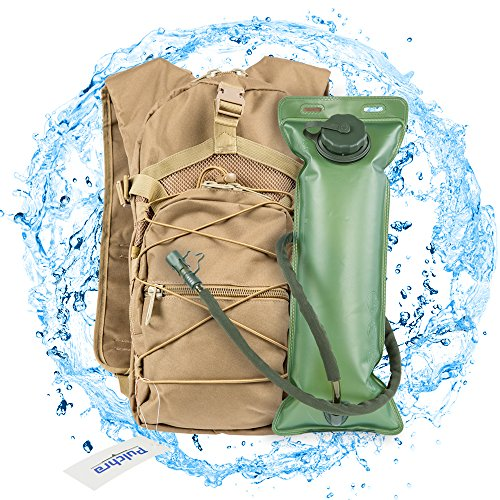 Pulchra Water Backpack Hiking Hydration Backpacks with 3L-Water-Bladder Daily Water Packs for Camping & Outdoor (Khaki)