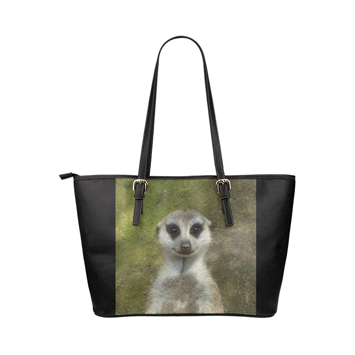 Nicedesigned Tote Bag Funny Meerkat Leather Tote Shoulder Bag Handbag for Women Girls