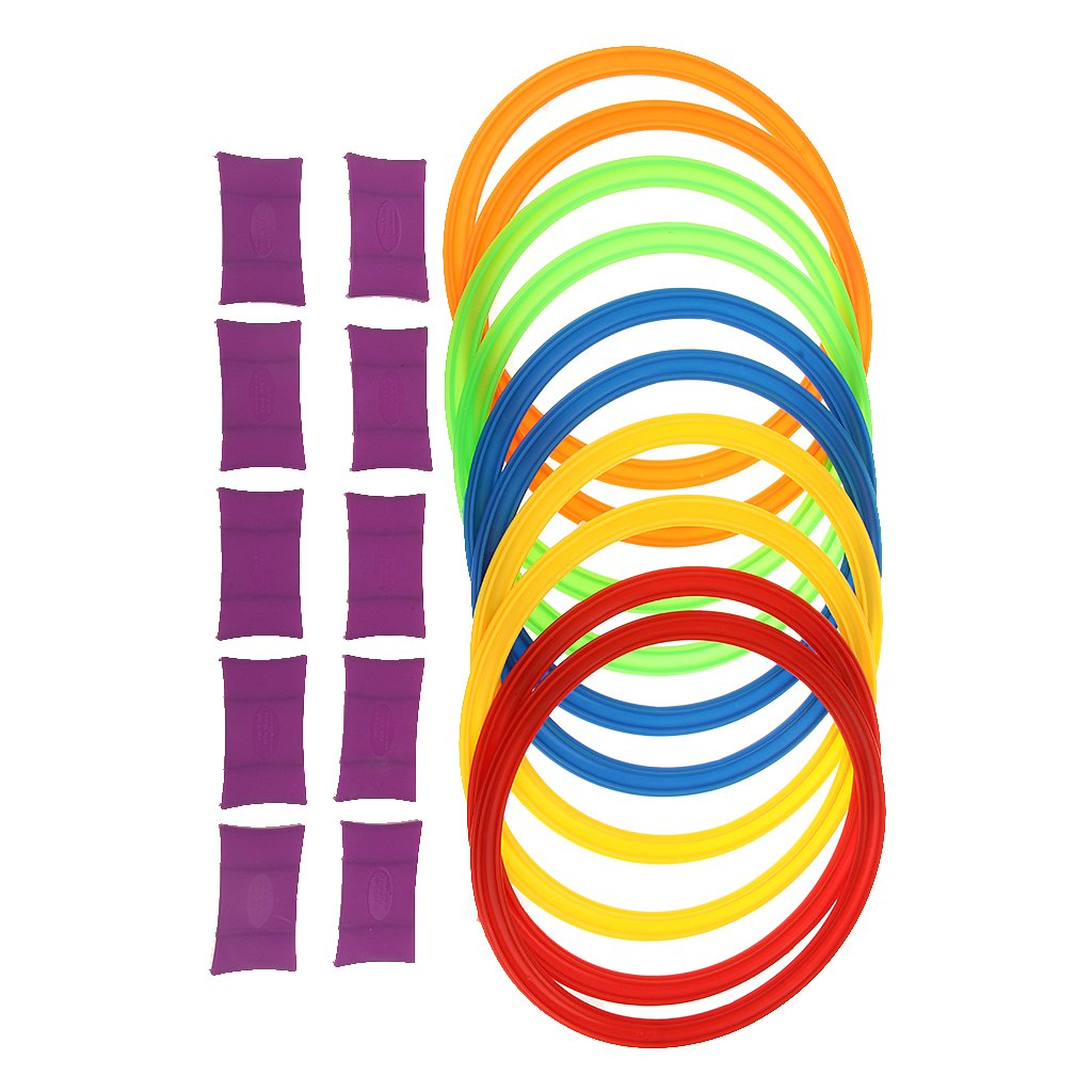 Dovewill 11.6inch Diameter 10 Rings & 10 Ring Clips Twister Hopscotch Games Indoor/Outdoor Play for Kids Exercising Imagination Play Toys