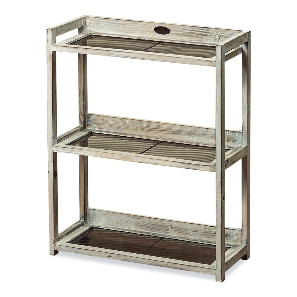 The Americana OLD VILLAGE 1886 Set of 3 Shelves, Inset Screens, Distressed White Finish, Antique Vintage Re-purposed Vintage Style, 29 Inches Tall, By Whole House Worlds by Whole House Worlds