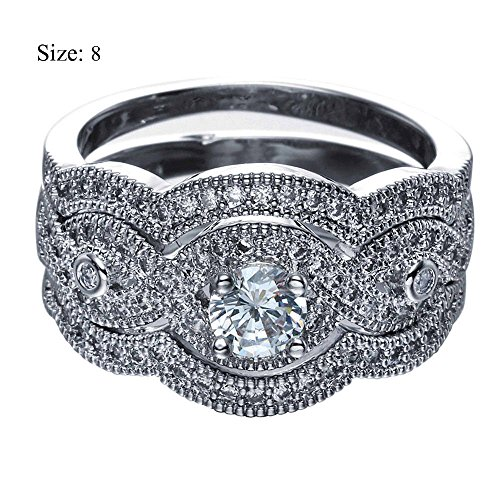 (wattana Vogue Women Men 14KT Black Gold Filled White Crystal Rings Set Bridal Jewelry by Wat (8))