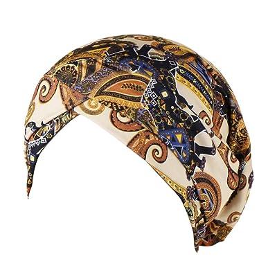 Women Ladies Casual Holiday Soft Beanie,Indian Muslim Wrap Head Turban Cap Cancer Chemo Hat (Beige): Clothing