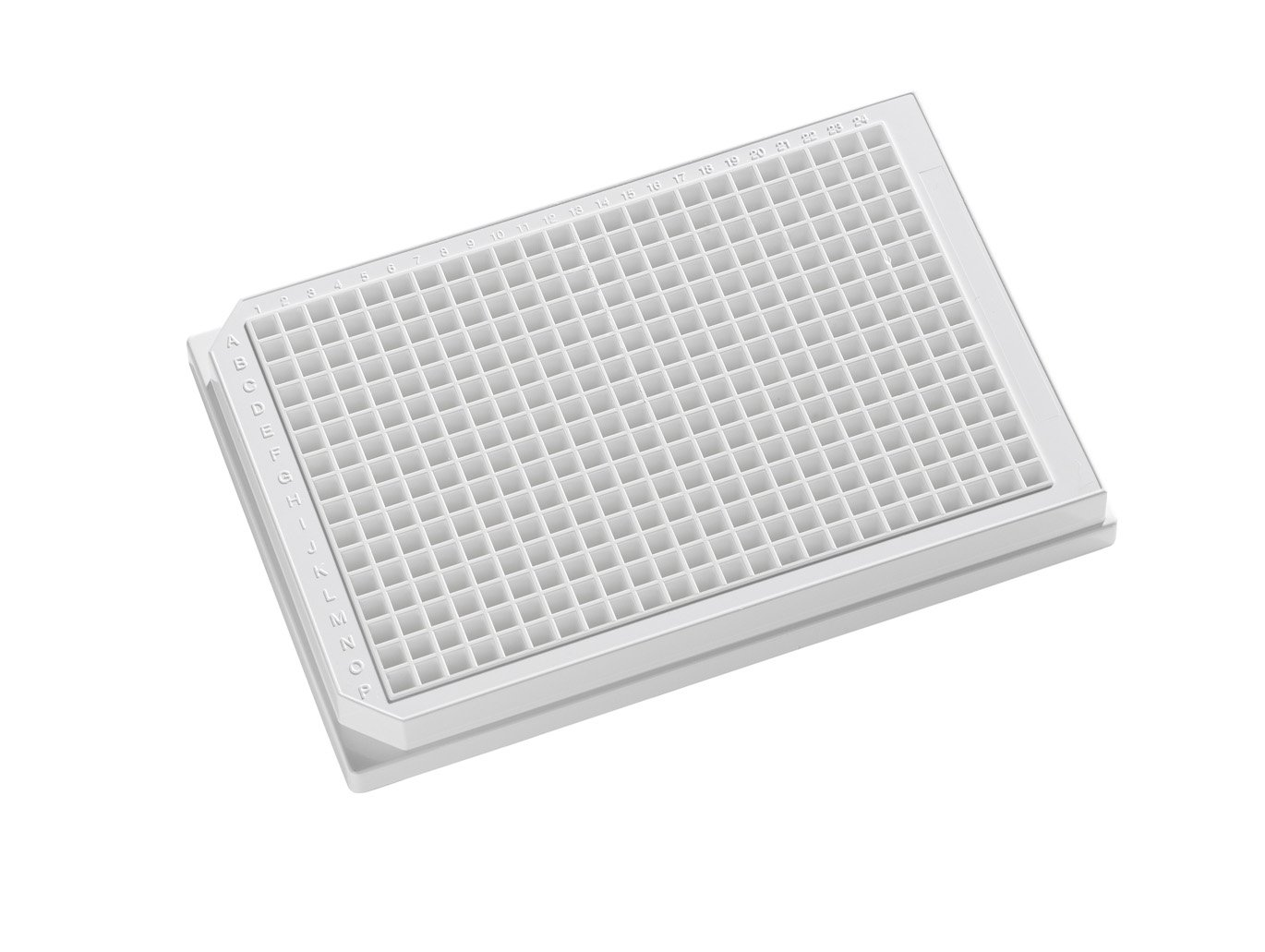OPAQUE SOLID POLYSTYRENE ASSAY PLATES, 384-Well Microplates - 120µl square well, 384-well 120uL Polystyrene, White, Tissue Culture Treated, With Lid. Individually packed.