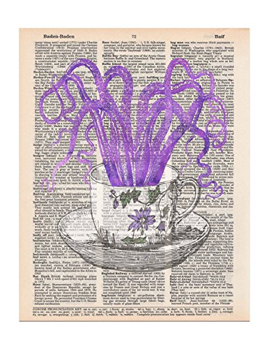 Octopus in a Teacup, Dictionary Page Art Print, 8x11 UNFRAMED (Prints Art Quirky)